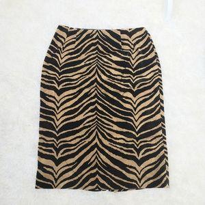 Talbots tiger print pencil skirt
